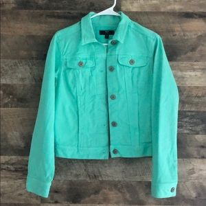 XS Mossimo Mint Green Denim Button Up Jean Jacket